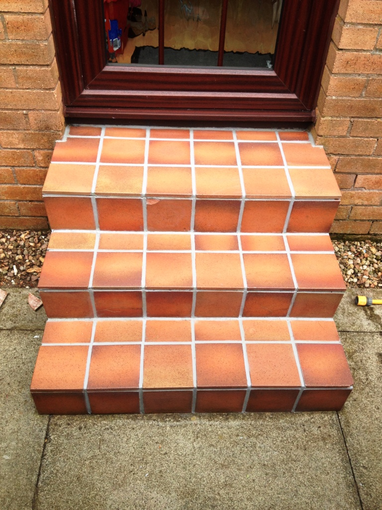 External Quarry Tile Steps After Cleaning
