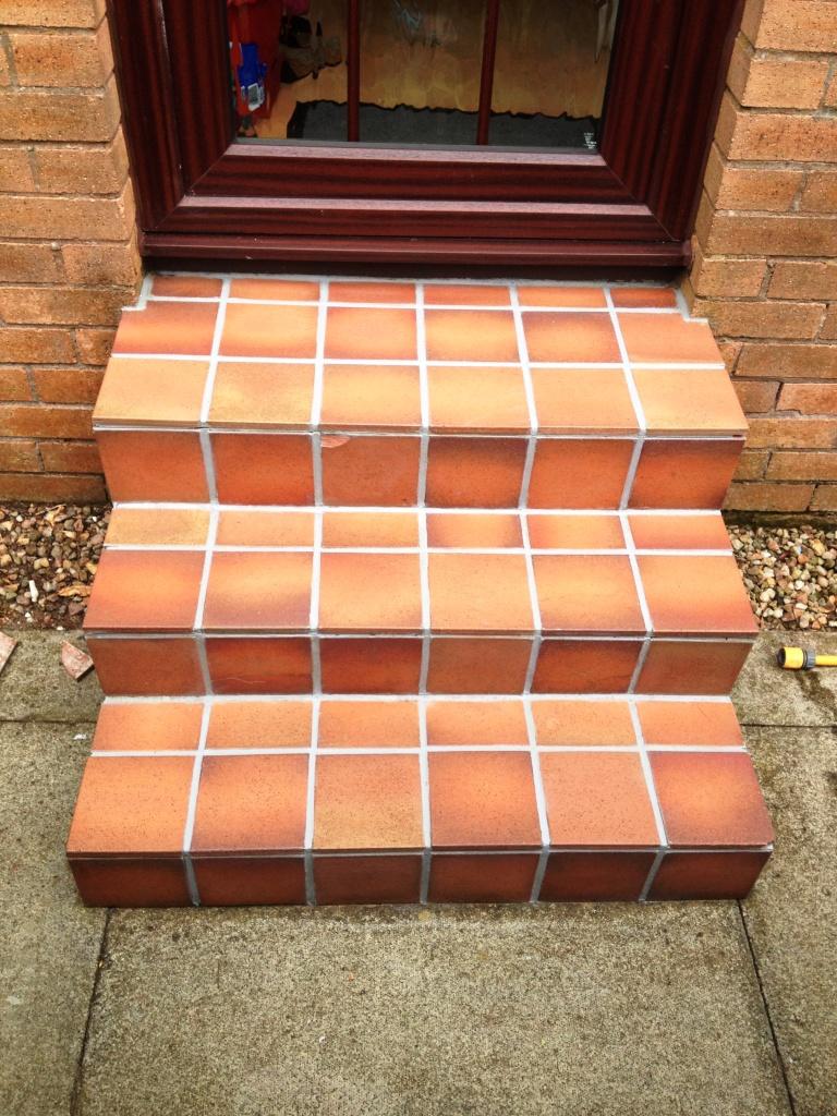 External Quarry Tile Steps After Cleaning