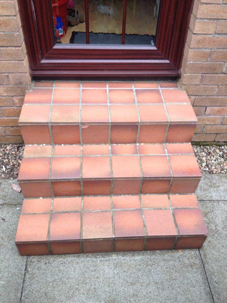 External Quarry Tile Steps Before Cleaning