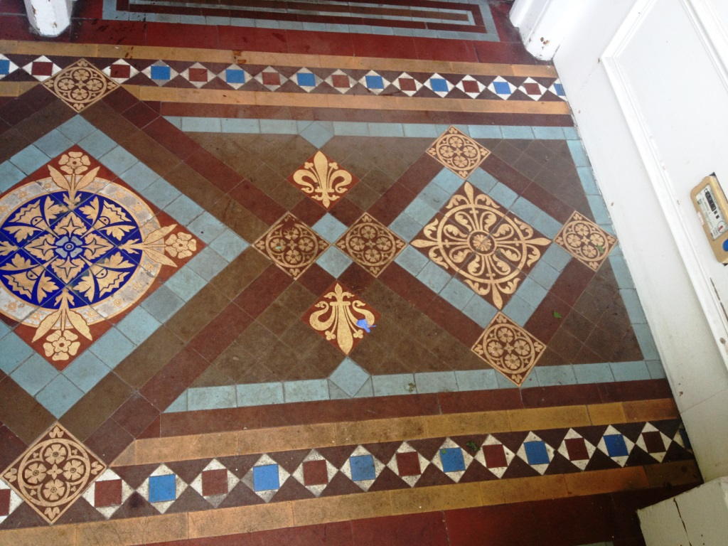 Victorian Tiles Before Cleaning in Musselburgh