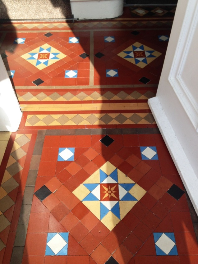 Victorian Tiles After Cleaning in Whitburn