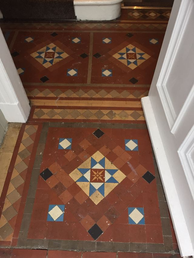 Victorian Tiles Before Cleaning in Whitburn