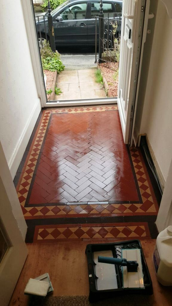 Victorian Tiled floor Polwarth after cleaning