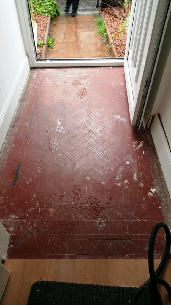 Victorian Tiled floor Polwarth before cleaning