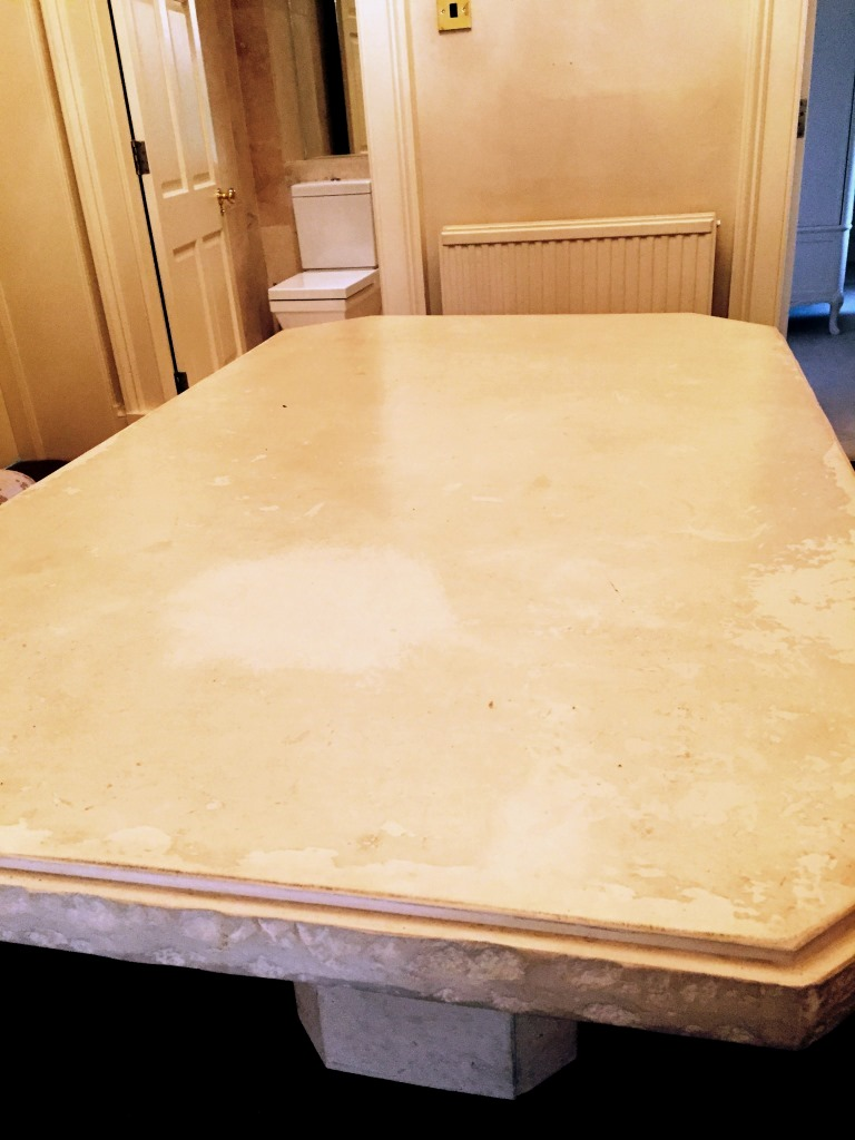 Limestone Table Before Refinishing Edinburgh City