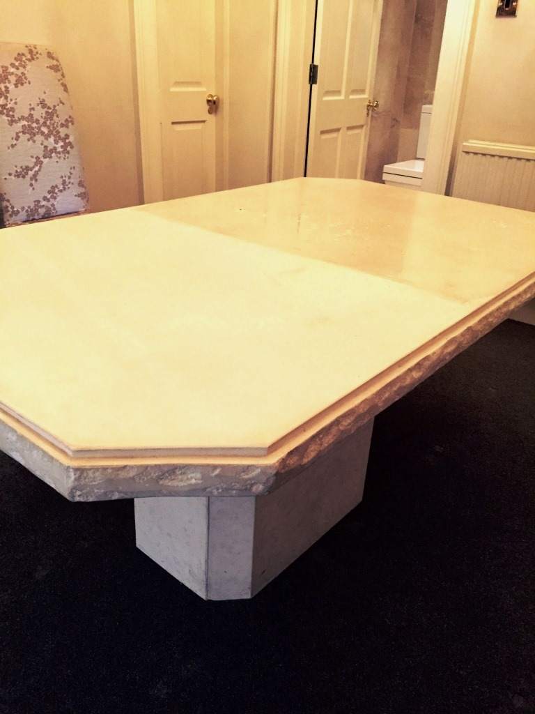 Limestone Table During Refinishing Edinburgh City