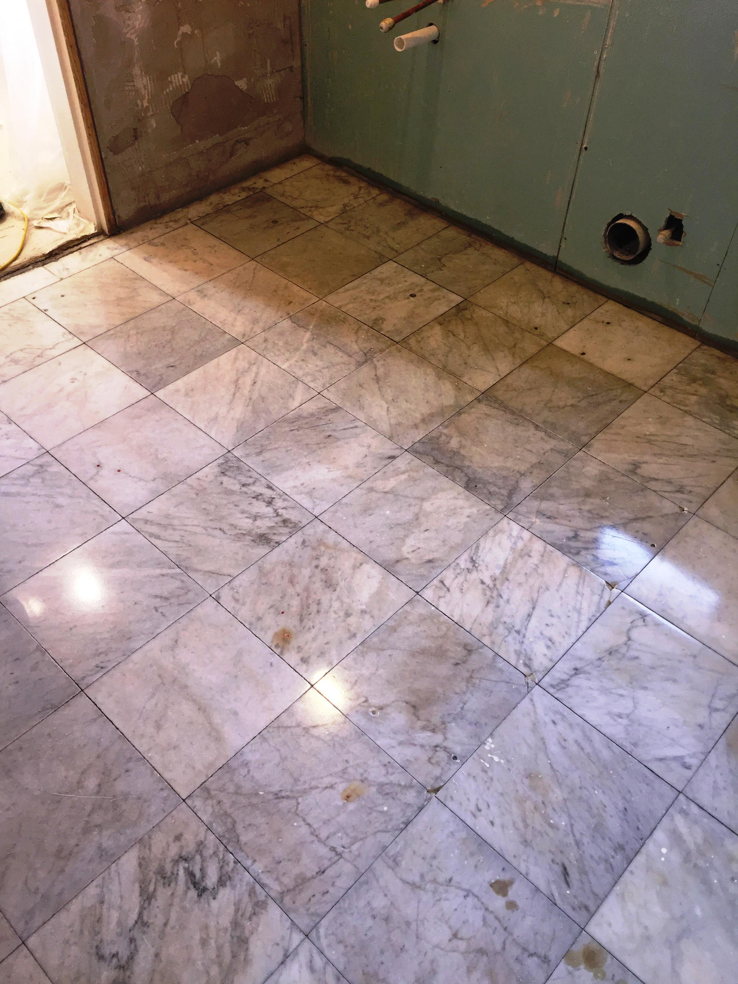 Marble Tiled Bathroom Floor After Restoration Walkerburn