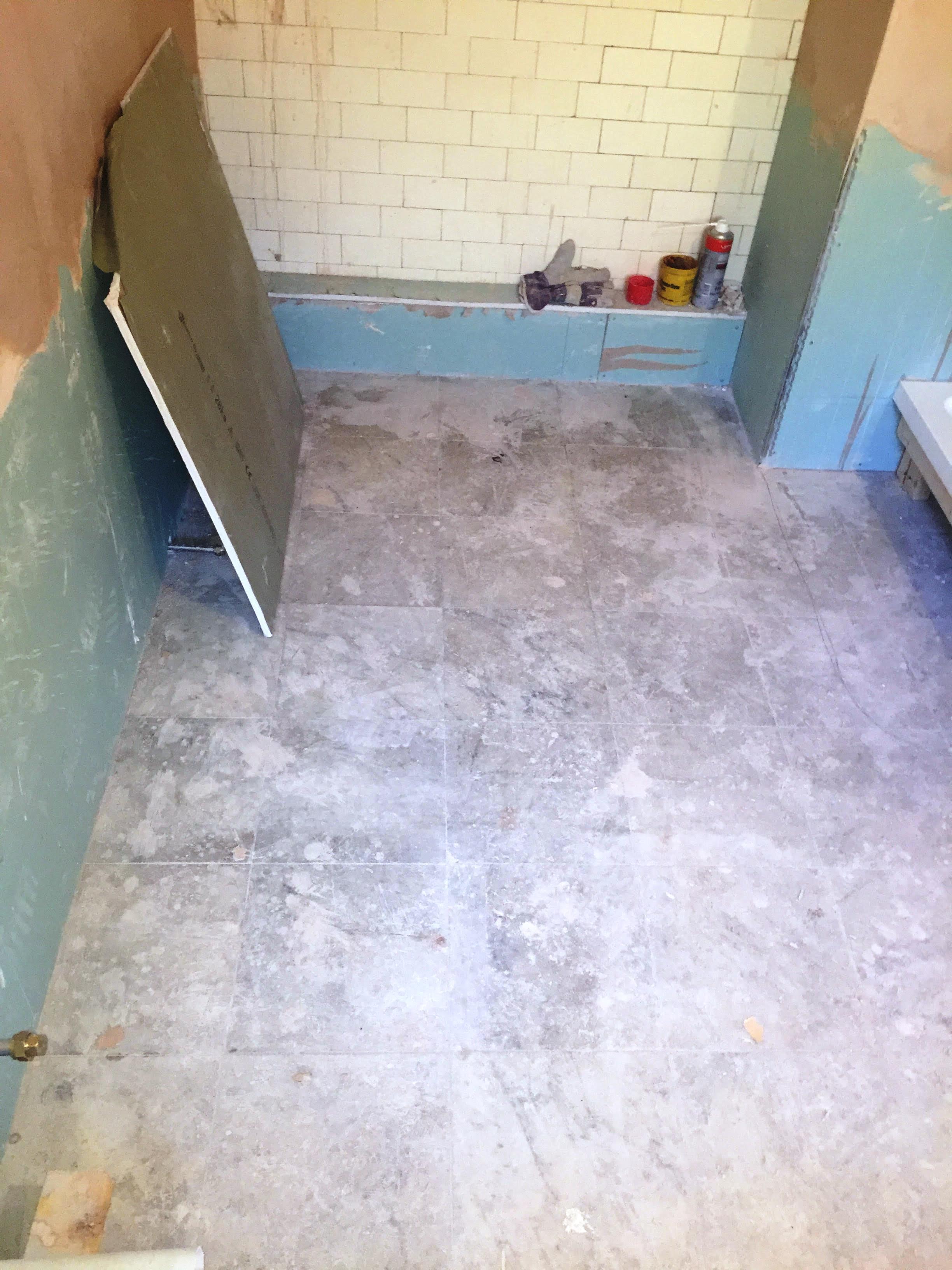 Marble Tiled Bathroom Floor Before Restoration Walkerburn