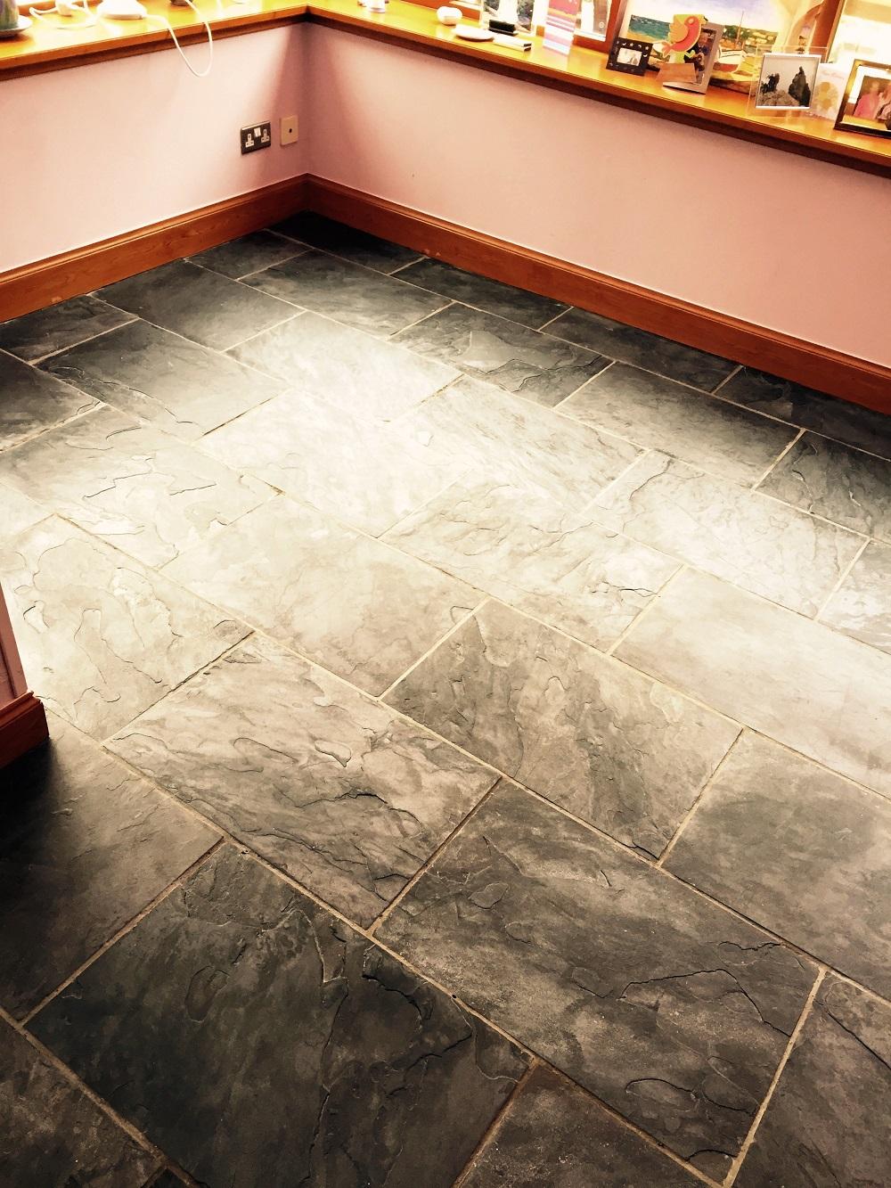 Slate Tiled Floor Before Cleaning Edinburgh