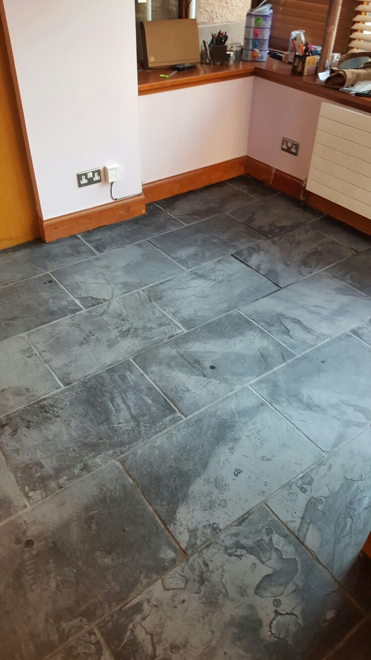 Slate Tiled Floor Stripped Ready for sealing Edinburgh