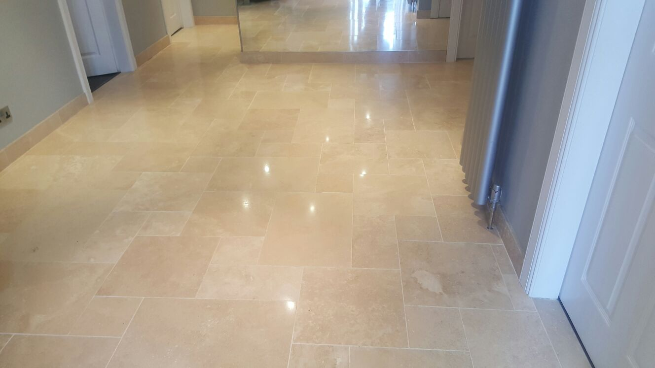Travertine Marble Tile : Dirty travertine tiled floor cleaned and polished in