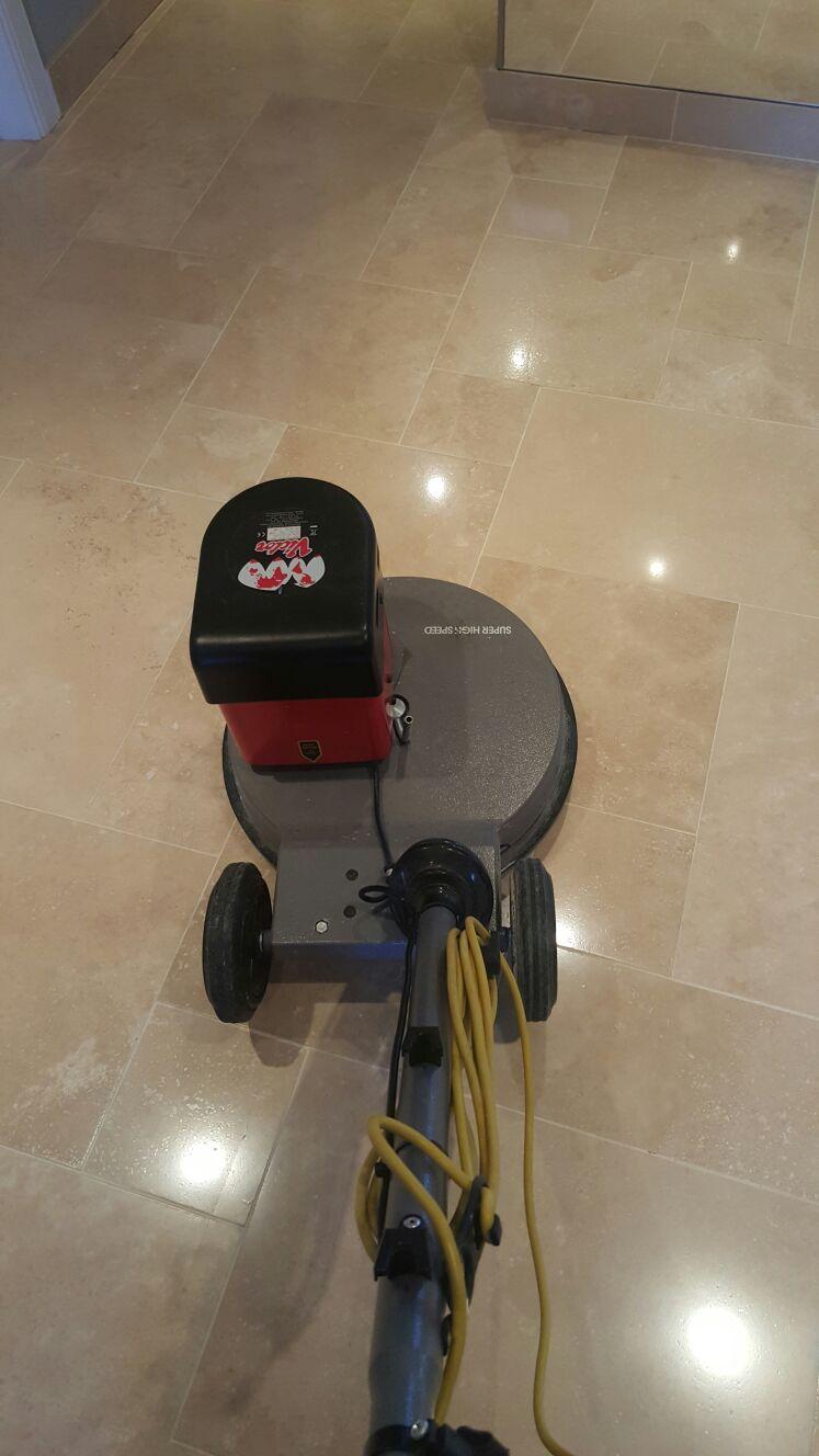 Travertine Floor During Polishing Ayrshire