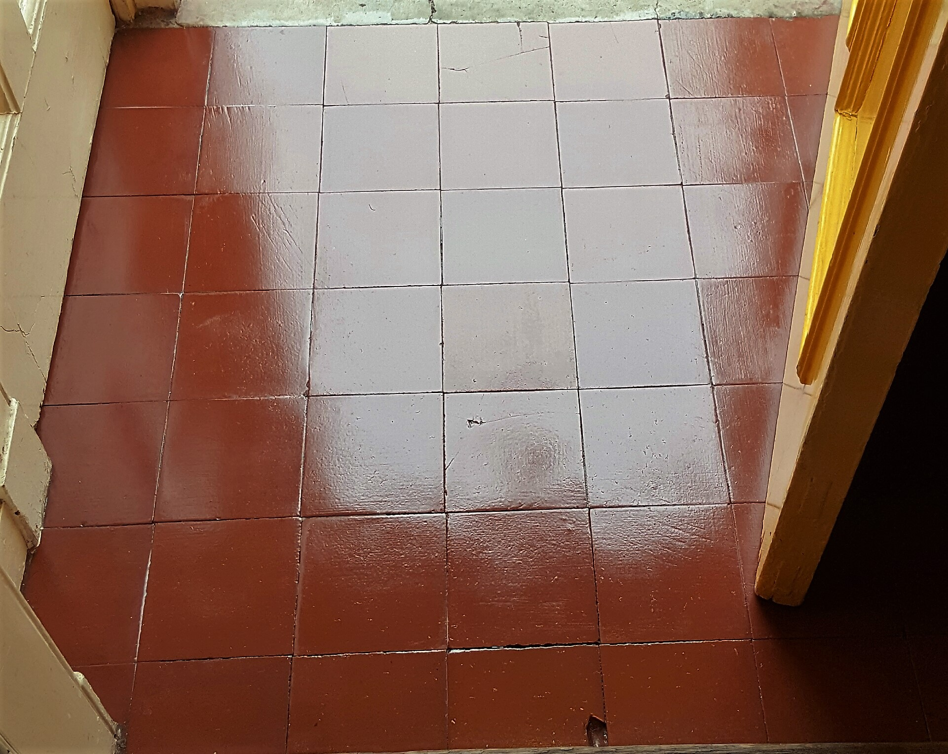 Quarry Tiled Porch After Cleaning Sealing width=