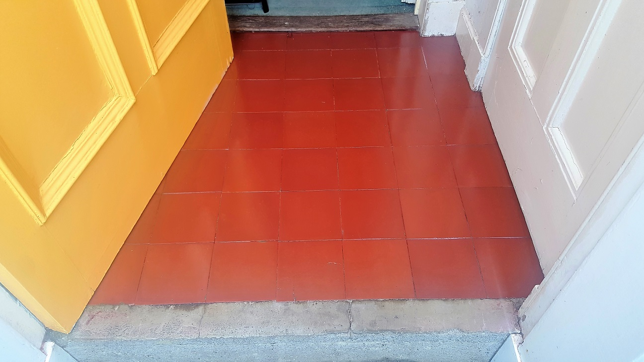Quarry Tiled Porch After Cleaning Sealing