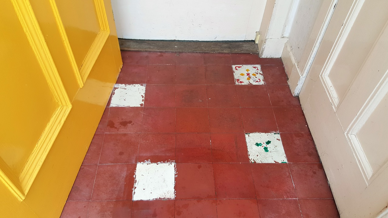 Quarry Tiled Porch Before Cleaning Edinburgh