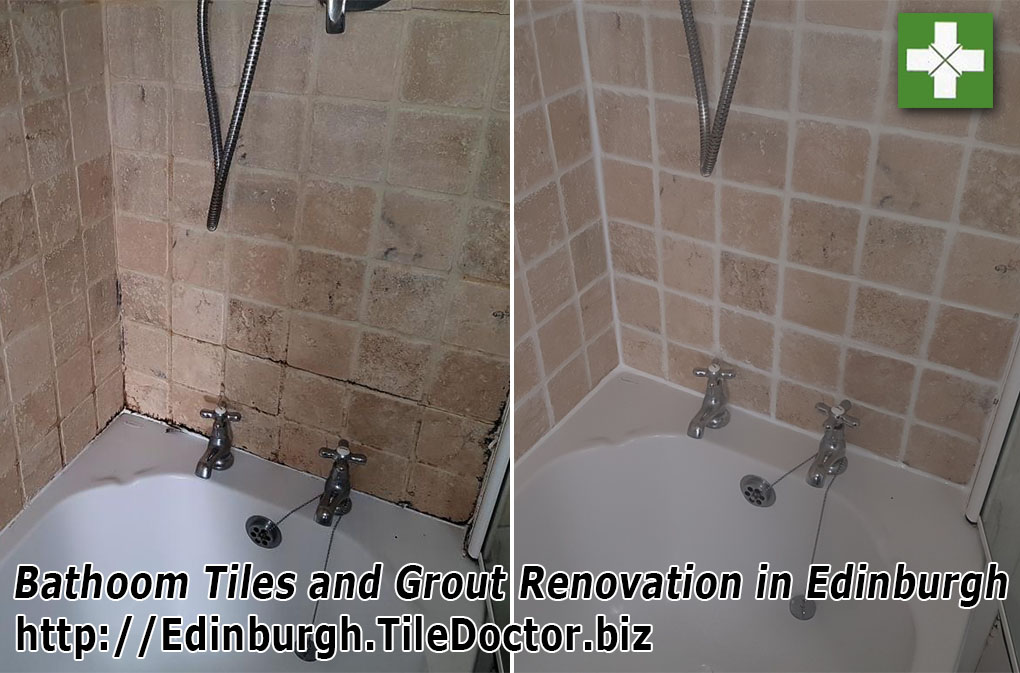 Bathoom tile grout refresh before and after cleaning in Edinburgh