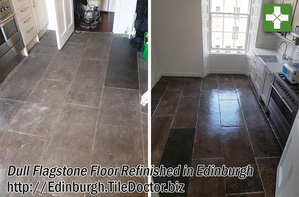 Dull Flagstone Floor Cleaned and Sealed in Edinburgh