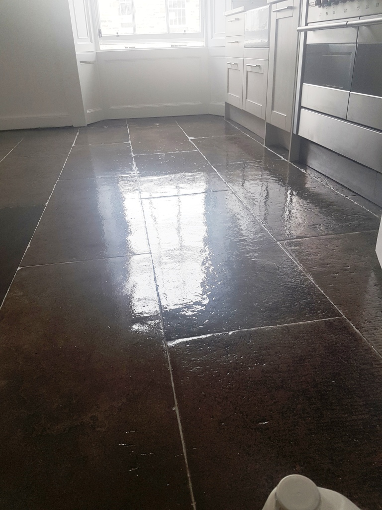Flagstone Kitchen Floor Edinburgh After Sealing