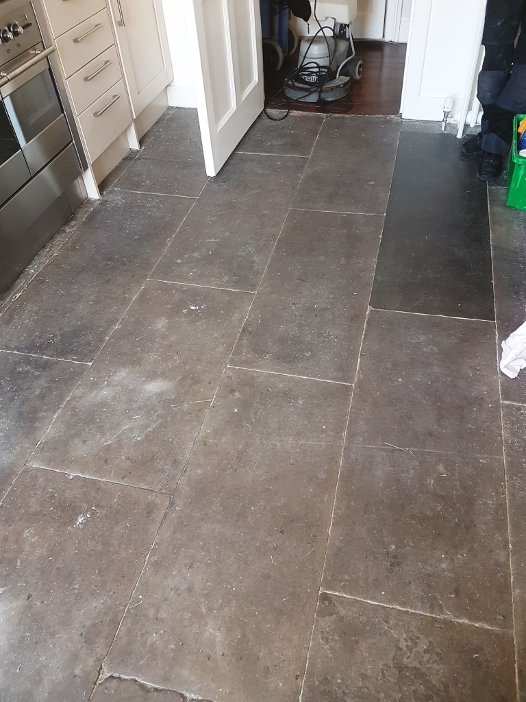 Flagstone Kitchen Floor Edinburgh Before Cleaning