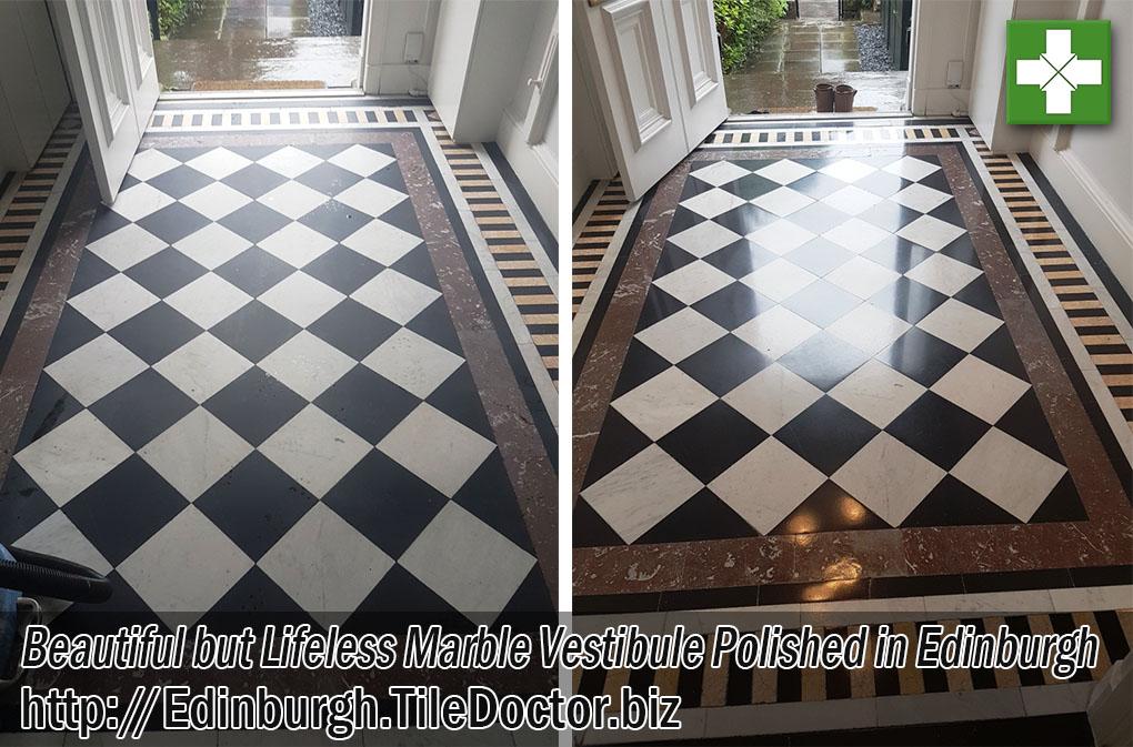 Marble Vestibule Floor Before and After Polishing in Edinburgh