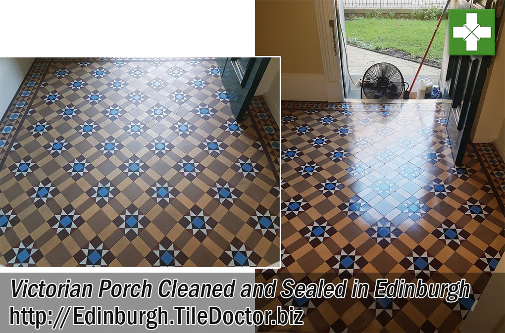 Victorian Tiled Porch Before and After Cleaning in Edinburgh