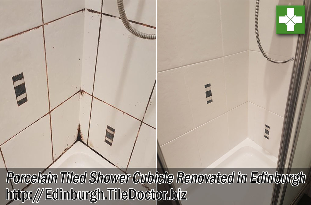 Porcelain Tiled Shower Cubicle Before and After Cleaning in Edinburgh