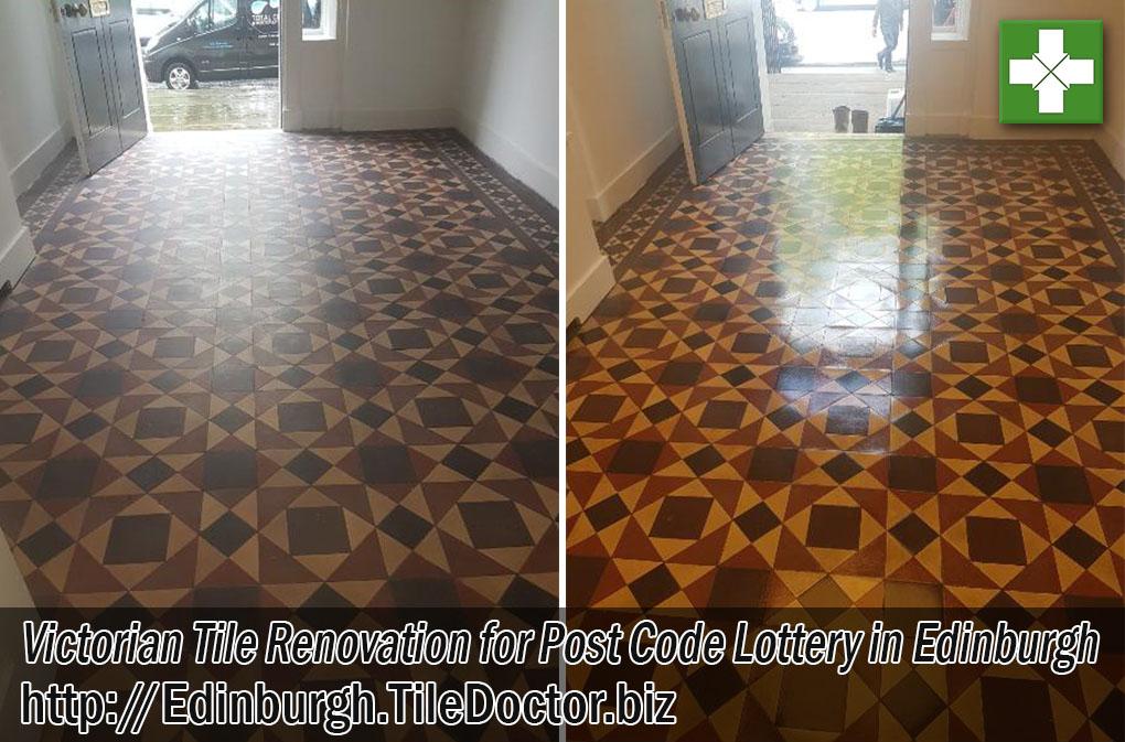 Victorian Tiled Floor Before and After Renovation Edinburgh