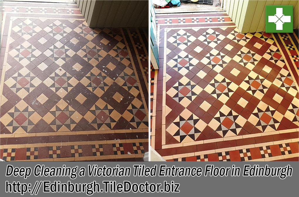 Victorian Tiled Entrance Floor Before and After Cleaning Edinburgh
