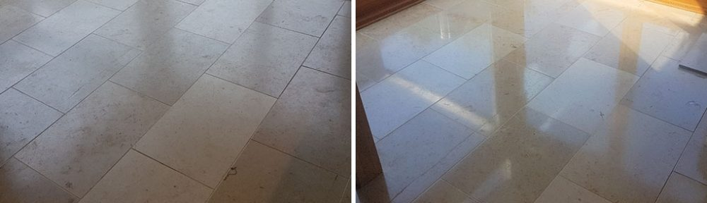 Travertine Tiled Floor Cleaned, Polished and Sealed in Edinburgh