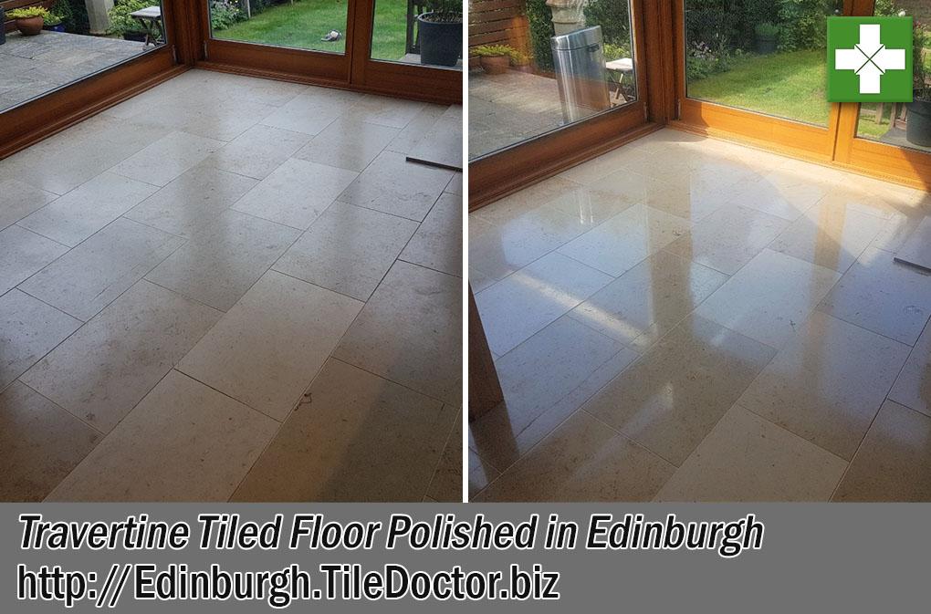 Travertine Tiled Floor Before After Polishing Edinburgh