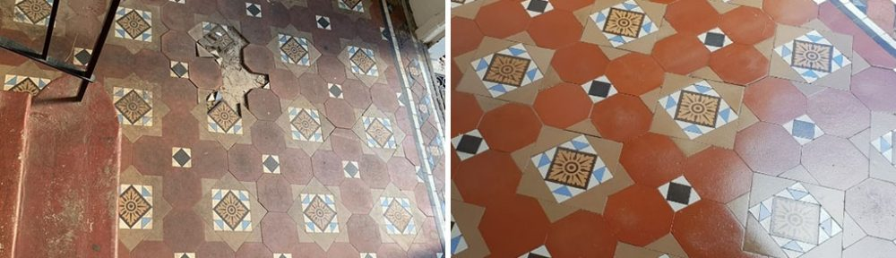 Damaged Victorian Tiled Period Hallway Restored in Edinburgh