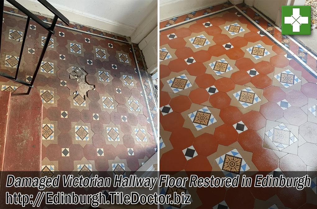 Damaged Victorian Tiled Hallway Floor Before After Restoration Edinburgh