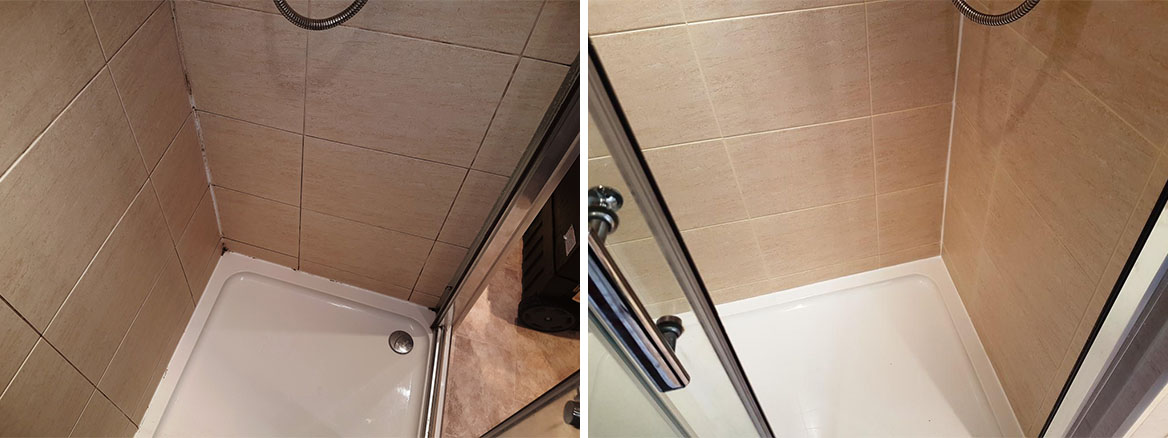 Ceramic Shower Cubicle Before and After Cleaning Edinburgh