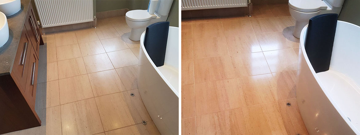 Polished Limestone Bathroom Tiles Transformed in Merchiston, Edinburgh