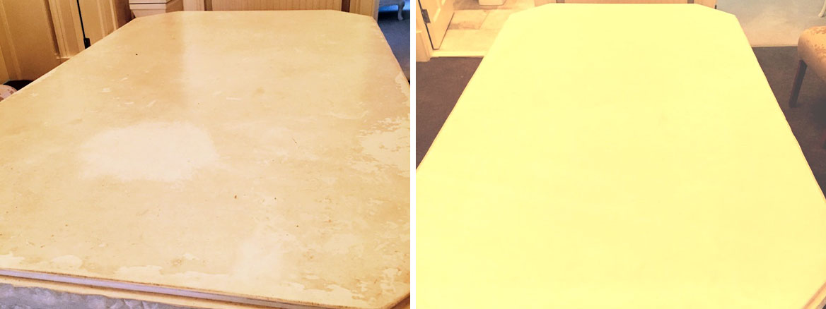 Refinishing a Limestone Table Top in Edinburgh City Centre