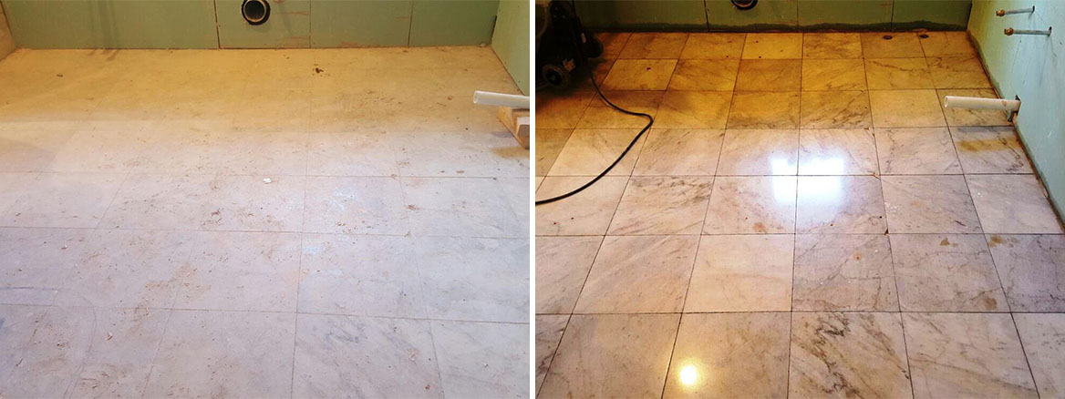 Marble Tiled Bathroom Floor Before and After Restoration Walkerburn