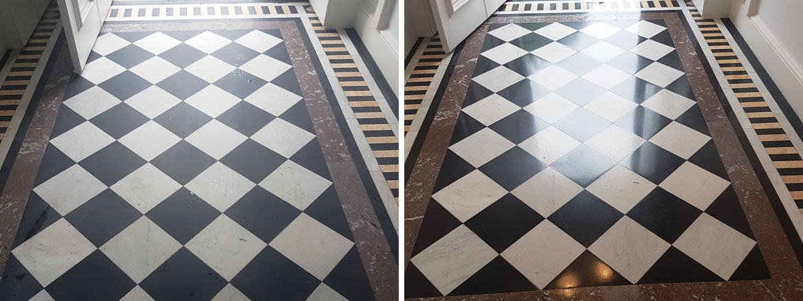 Polished Marble Vestibule Before and After Cleaning Edinburgh