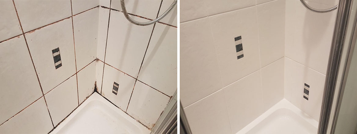 Shower Grout Before and After Restoration in Edinburgh