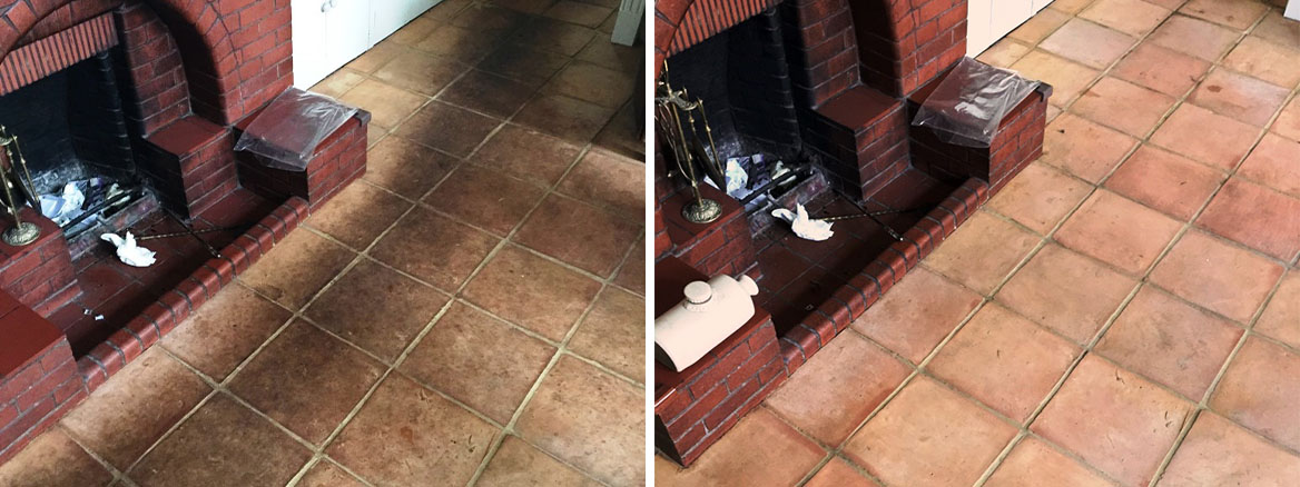 Terracotta Tiled Floor Cleaned in Edinburgh