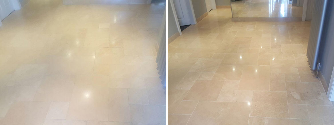 Dirty Travertine Tiled Floor Cleaned and Polished in Ayrshire