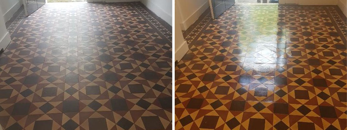 Victorian Tiled Floor Before and After Cleaning Postcode Lottery HQ Edinburgh