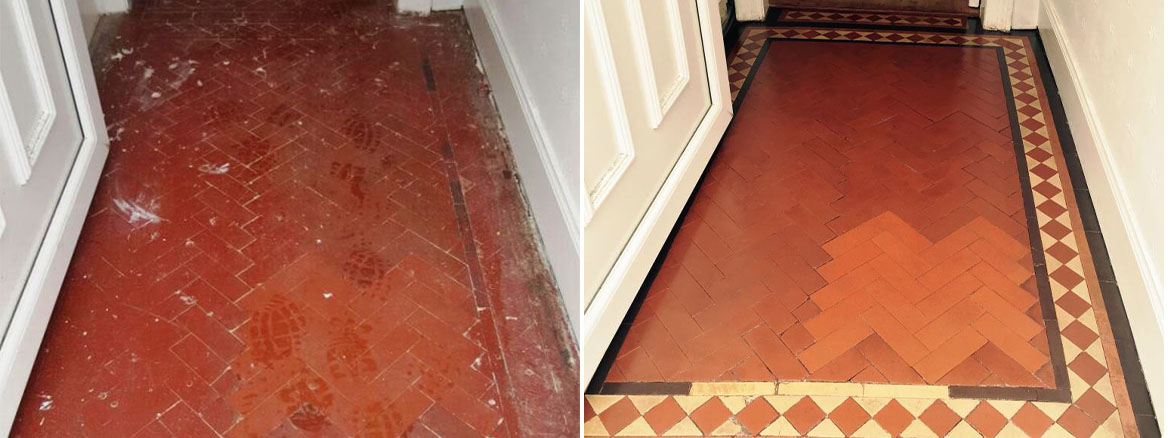 Removing paint from a Victorian tiled hallway floor in Polwarth