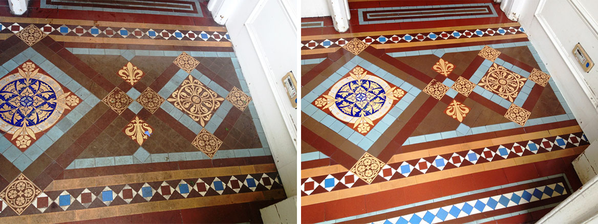 Cleaning Dirty Victorian Tiles Floor in Musselburgh
