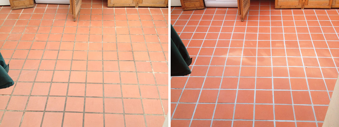 Stained Quarry Tile Grout Cleaned and Coloured in Livingston